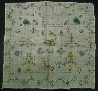 Elizabeth Old (American or English, 1811-?). Sampler, 1823. Linen, cotton, silk, 21 5/8 x 21 3/4 in. (54.9 x 55.2 cm). Brooklyn Museum, Gift of Constance L. Christensen, 2009.9. Creative Commons-BY