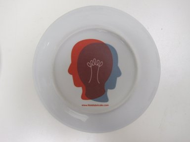 """Susan Doban (American, born 1958). Plate """"The City of Brooklyn- Brooklyn Bridge,"""" Designed and manufactured 2010. Porcelain, 7/8 x 8 3/8 in. (2.2 x 21.3 cm). Brooklyn Museum, Gift of Susan Doban for Think Fabricate, 2010.30.3. Creative Commons-BY"""