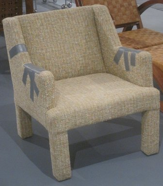 Jason Miller (American, born 1971). Duct Tape Chair, 2006. Wood, cotton-wool textile, leather, 29 1/4 x 24 1/2 x 27 in. (74.3 x 62.2 x 68.6 cm). Brooklyn Museum, Gift of Jason Miller, 2011.16.1. Creative Commons-BY