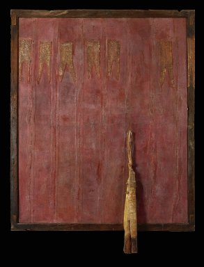 Viyé Diba (Senegalese, born 1954). Red Escape II, 1999. Cotton strip cloth, paint, sand, wood, metal , 67 x 55 in. (170.2 x 139.7 cm). Brooklyn Museum, Gift of Elliot Picket, by exchange and Alfred T. White Fund, 2011.30. © Viyé Diba