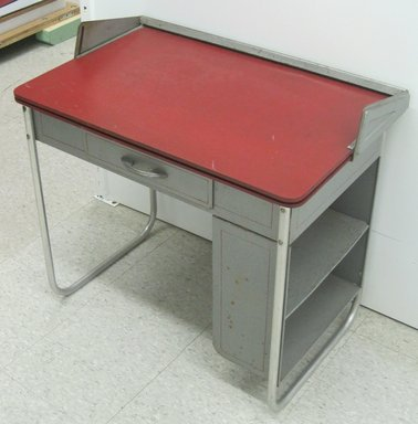 "Carl E. Meyerhoefer (German, 1908-1995). Convertible Black-Board Desk, ""Lewytoy Line,"" Patented  May 22, 1945. Steel, chromed tubular steel, particle board, 27 1/2 x 28 1/2 x 17 15/16 in. (69.9 x 72.4 x 45.6 cm). Brooklyn Museum, Gift of Jacqueline Loewe Fowler, 2011.44.1. Creative Commons-BY"