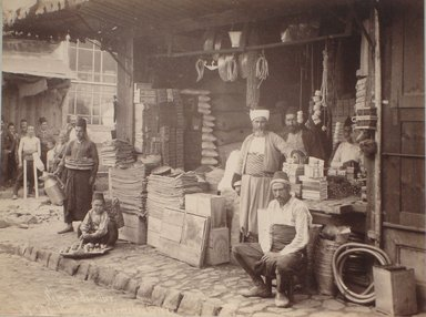 Jean Sébah (Turkish, 1872-1947). Boutiques et Marchands Turc (No. 708), late 19th century. Albumen print, 7 5/8 x 10 in. (19.4 x 25.4 cm). Brooklyn Museum, Gift of Pamela and Arnold Lehman, 2011.71.2