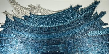 Ran Hwang (South Korean, born 1960). East Wind, 2012. Plastic and metal buttons and beads, metal pins, wood panel, overall: 71 x 142 in. (180.3 x 360.7cm). Brooklyn Museum, Gift of Mrs. Walter N. Rothschild, by exchange and Mary Smith Dorward Fund, 2012.27a-c. © Ran Hwang