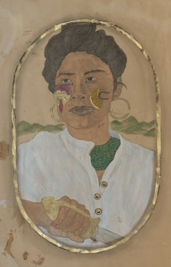 "Frohawk Two Feathers (born Umar Rashid) (American, born 1976). I'll Cut You. I Swear. (""Queen"" Jacinta of the Tairona. Santa Marta, Colombia 1790)., 2011. Acrylic, ink, coffee and tea on paper, 44 x 30 in. (111.8 x 76.2 cm). Brooklyn Museum, Robert A. Levinson Fund, 2012.29.2. ©Frohawk Two Feathers/Umar Rashid"