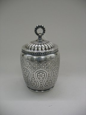 James W. Tufts (1875-ca. 1914). Tea Caddy with Lid, 1875-1885. Silverplate, a, caddy without lid: 4 x 3 1/2 x 3 1/2 in. (10.2 x 8.9 x 8.9 cm). Brooklyn Museum, Gift of Sarah Eigen, 2012.60.9a-c. Creative Commons-BY