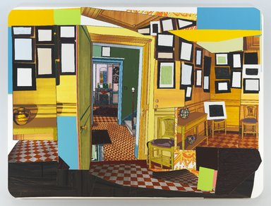 Mickalene Thomas (American, born 1971). Monet's Salle a Manger Jaune, 2012. Rhinestone, acrylic, oil and enamel on wood panel, 108 x 144 x 2 in. (274.3 x 365.8 x 5.1 cm). Brooklyn Museum, A. Augustus Healy Fund, 2012.73a-b. © Mickalene Thomas. Courtesy Lehmann Maupin Gallery, New York and Hong Kong