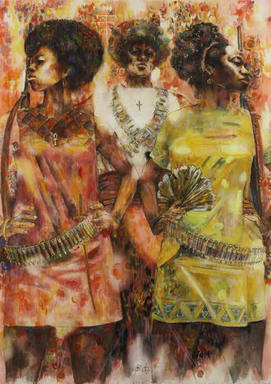 Jeff Donaldson (American, 1932-2004). Wives of Shango, 1969. Watercolor with mixed media on paper, sheet: 30 x 22 in. (76.2 x 55.9 cm). Brooklyn Museum, Gift of R.M. Atwater, Anna Wolfrom Dove, Alice Fiebiger, Joseph Fiebiger, Belle Campbell Harriss, and Emma L. Hyde, by exchange, Designated Purchase Fund, Mary Smith Dorward Fund, Dick S. Ramsay Fund, and  Carll H. de Silver Fund, 2012.80.13. © Jameela K. Donaldson