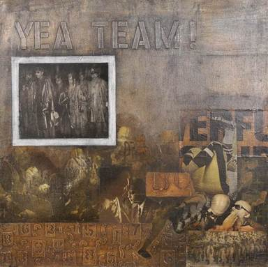Ralph Arnold (American, 1928-2006). Yeah Team, ca. 1970. Oil and mixed media collage on canvas, 30 x 30 in. (76.2 x 76.2 cm). Brooklyn Museum, Gift of R.M. Atwater, Anna Wolfrom Dove, Alice Fiebiger, Joseph Fiebiger, Belle Campbell Harriss, and Emma L. Hyde, by exchange, Designated Purchase Fund, Mary Smith Dorward Fund, Dick S. Ramsay Fund, and  Carll H. de Silver Fund, 2012.80.2. © Ralph Arnold