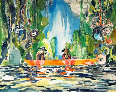 Santi Moix (Spanish, born 1960). Fishing Day (Huck & Tom), 2011. Watercolor and collage on paper, 48 x 60 3/4 in. (121.9 x 154.3 cm). Brooklyn Museum, Purchase gift of Stephanie and Tim Ingrassia, 2012.8.  ©Santi Moix