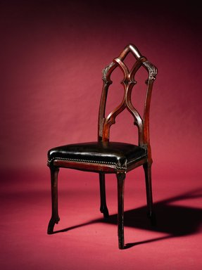 Burns & Brothers (active 1857-1859). Side Chair, 1855-1859. Walnut, other woods, modern leather upholstery and brass tacks, 39 3/8 x 18 3/4 x 18 3/4 in. (100 x 47.6 x 47.6 cm). Brooklyn Museum, Marie Bernice Bitzer Fund, 2013.1.1. Creative Commons-BY