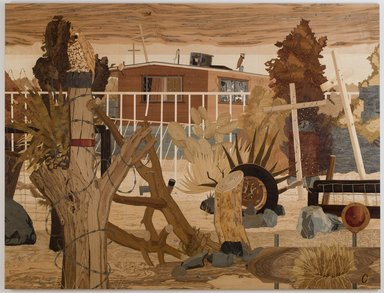 Alison Elizabeth Taylor (American, born 1973). Security House, 2008-2010. Wood veneer, shellac, 93 x 122 in. (236.2 x 309.9 cm). Brooklyn Museum, Gift of the Contemporary Art Acquisition Committee, 2013.29.2a-c. © Alison Elizabeth Taylor