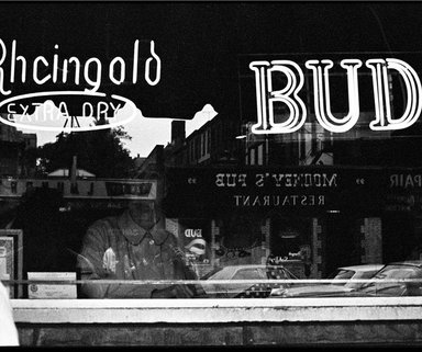 Ed Gallucci. BUD, 7th Ave., 1972, printed 2013. Inkjet print, image: 8 1/2 x 12 3/4 in. (21.6 x 32.4 cm). Brooklyn Museum, Gift of the artist, 2013.80.4. © Ed Gallucci