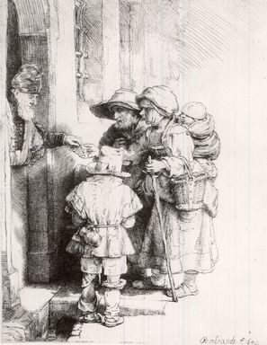 Rembrandt Harmensz. van Rijn (Dutch, 1606-1669). Beggars Receiving Alms at the Door of a House, 1648. Etching, burin, and drypoint on wove paper, Plate: 6 1/2 x 5 1/8 in. (16.5 x 13 cm). Brooklyn Museum, Bequest of William H. Herriman, 21.237