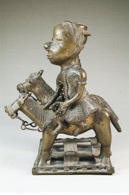 Male and Female Figures on Horses, before 1922. Copper alloy, 6 11/16 x 4 5/16 x 4 15/16 in. (17 x 11 x 12.5 cm). Brooklyn Museum, Museum Expedition 1922, Robert B. Woodward Memorial Fund, 22.115. Creative Commons-BY