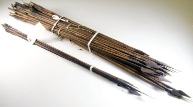 Sixty Six Poisoned Arrows in One Bundle with Shafts, before 1922. Wood, iron, feathers, 13/16 x 35 7/16 in. (2 x 90 cm). Brooklyn Museum, Museum Expedition 1922, Robert B. Woodward Memorial Fund, 22.1316. Creative Commons-BY