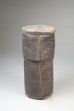 Kuba?. Cylindrical Box with Cover. Wood, 5 1/8 x 2 3/8 in. (13 x 6 cm). Brooklyn Museum, Museum Expedition 1922, Robert B. Woodward Memorial Fund, 22.132a-b. Creative Commons-BY