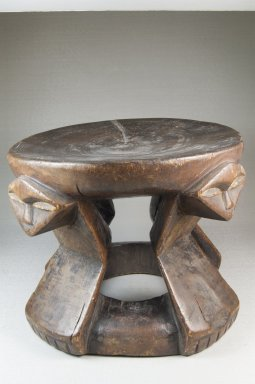 Pende or Mbonda (Western). Stool with Caryatid Figures, 19th century. Wood, applied material, 7 1/16 x 5 1/8 in. (17.9 x 13 cm). Brooklyn Museum, Museum Expedition 1922, Robert B. Woodward Memorial Fund, 22.1389. Creative Commons-BY