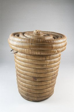 Luba?. Coiled Covered Basket, late 19th-early 20th century. Vegetal fiber, metal, height: 7 5/8 in. Brooklyn Museum, Museum Expedition 1922, Robert B. Woodward Memorial Fund, 22.1402a-b. Creative Commons-BY