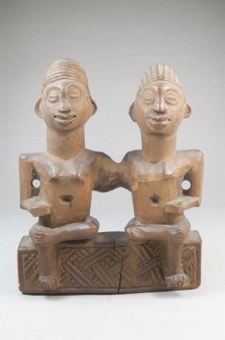 Kongo (Vili subgroup). Seated Couple, 19th century. Wood, 7 x 5 3/4 x 2 1/2 in. (17.5 x 14.2 x 6.5 cm). Brooklyn Museum, Museum Expedition 1922, Robert B. Woodward Memorial Fund, 22.1446. Creative Commons-BY