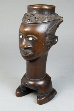 Kuba (Lele subgroup). Figurative Cup (Mbwoongntey), early 20th century. Wood, shell, 7 5/16 x 3 3/8 x 3 15/16 in. (18.6 x 8.5 x 10 cm). Brooklyn Museum, Museum Expedition 1922, Robert B. Woodward Memorial Fund, 22.1484. Creative Commons-BY