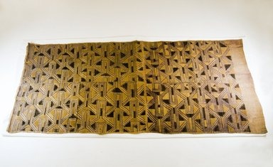 Kuba (Bushoong subgroup). Raffia Cloth, 19th century., 142.0 x 63.0 cm. Brooklyn Museum, Museum Expedition 1922, Robert B. Woodward Memorial Fund, 22.1492. Creative Commons-BY