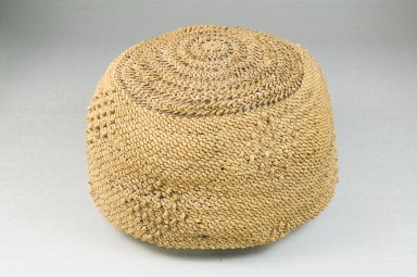 Possibly Kongo. Basketry Cap, late 19th-early 20th century. Raffia, fiber, height: 3 1/8 in. (7.9 cm); diameter: 6 1/4 in. (15.9 cm). Brooklyn Museum, Brooklyn Museum Collection, 22.1620. Creative Commons-BY