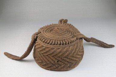 Kuba (Nkutshu subgroup). Basketry Cap, late 19th century. Raffia (2 ply, 2 twist), height: 3 1/8 in. (7.9 cm); diameter: 5 1/8 in. (13 cm). Brooklyn Museum, Museum Expedition 1922, Robert B. Woodward Memorial Fund, 22.1653. Creative Commons-BY