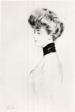 Paul-César Helleu (French, 1859-1927). Portrait Head. Drypoint on wove paper, 21 5/8 x 13 9/16 in. (55 x 34.5 cm). Brooklyn Museum, Gift of the Misses Cullen in memory of Edgar M. Cullen, 22.1951