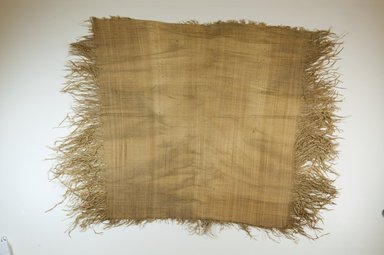 "Possibly Kuba. Raffia Cloth, 19th century. Raffia, L: 19 1/2"" ( 49 cm), W: 25"" ( 64 cm) includes 3"" fringe at side. Brooklyn Museum, Museum Expedition 1922, Robert B. Woodward Memorial Fund, 22.469.4. Creative Commons-BY"