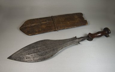 Lulua. Knife with Scabbard, 19th century. Iron, wood, vegetal fiber, 5 5/16 x 22 7/16 in. (13.5 x 57 cm). Brooklyn Museum, Museum Expedition 1922, Robert B. Woodward Memorial Fund, 22.537a-b. Creative Commons-BY