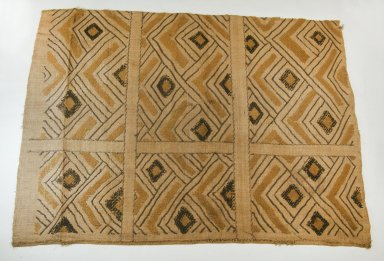 Kuba (Nkutshu subgroup). Raffia Cloth, 19th century., 28 9/16 x 24 5/8 in.  (72.5 x 62.5 cm). Brooklyn Museum, Museum Expedition 1922, Robert B. Woodward Memorial Fund, 22.568. Creative Commons-BY