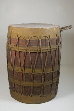 Drum, late 19th or early 20th century. Wood, leather, 11 5/16 x 11 13/16 in. (44.0 x 30.0 cm). Brooklyn Museum, Museum Expedition 1922, Robert B. Woodward Memorial Fund, 22.885. Creative Commons-BY