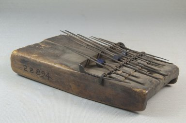 Plucked Idiophone (Sanza), late 19th or early 20th century. Wood, metal, glass beads, 2 x 6 x 3 1/4 in. (5.1 x 15.2 x 8.3 cm). Brooklyn Museum, Museum Expedition 1922, Robert B. Woodward Memorial Fund, 22.894. Creative Commons-BY