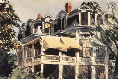 Edward Hopper (American, 1882-1967). The Mansard Roof, 1923. Watercolor over graphite on paper, 13 7/8 x 20 in. (35.2 x 50.8 cm). Brooklyn Museum, Museum Collection Fund, 23.100. © Heirs of Josephine N. Hopper, licensed by the Whitney Museum of American Art