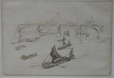 Joseph Pennell (American, 1860-1926). Waterloo Bridge, 1893. Etching, Sheet (irregular): 10 x 10 15/16 in. (25.4 x 27.8 cm). Brooklyn Museum, Brooklyn Museum Collection, 23.117