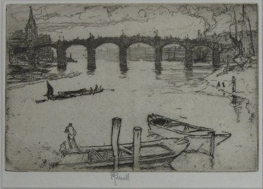 Joseph Pennell (American, 1860-1926). Vauxhall Bridge, 1893. Etching, Sheet: 5 1/2 x 9 1/8 in. (14 x 23.2 cm). Brooklyn Museum, Brooklyn Museum Collection, 23.118