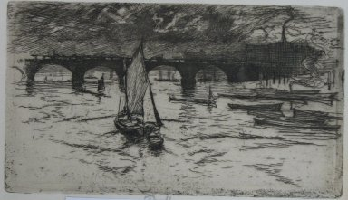 Joseph Pennell (American, 1860-1926). London Bridge, 1893. Etching, Sheet: 5 5/8 x 9 in. (14.3 x 22.9 cm). Brooklyn Museum, Brooklyn Museum Collection, 23.137