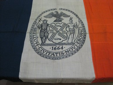 Flag of New York, 1920. Wool, canvas, metal rings, 96 x 60 in. (243.8 x 152.4 cm). Brooklyn Museum, Museum Collection Fund, 23832. Creative Commons-BY