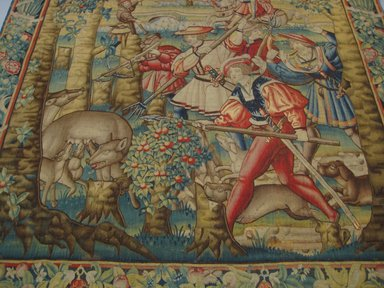Tapestry: Hunting the Wolf, First third of the 16th century. Wool, 126 x 130 1/2 in. (320 x 331.5 cm). Brooklyn Museum, Alfred T. White Fund, A. Augustus Healy Fund, and Museum Collection Fund, 24.113. Creative Commons-BY