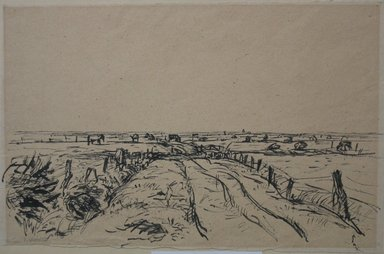 John von Wicht (American, born Germany, 1888-1970). Holland Pastures, 1922. Ink on paper, sheet: 9 7/16 x 15 in. (24 x 38.1 cm). Brooklyn Museum, Caroline H. Polhemus Fund, 24.440