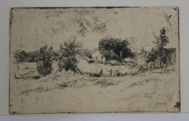 Julian Alden Weir (American, 1852-1919). The Farm, 1889. Etching on wove paper, 2 3/8 x 3 3/4 in. (6 x 9.5 cm). Brooklyn Museum, Gift of Elizabeth Luther Cary, 25.104