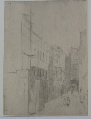 Julian Alden Weir (American, 1852-1919). Adam and Eve Street, Number One, 1889. Etching on laid paper, 4 7/8 x 3 9/16 in. (12.4 x 9 cm). Brooklyn Museum, Gift of Elizabeth Luther Cary, 25.105