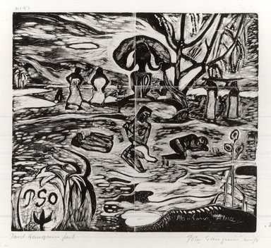 Paul Gauguin (French, 1848-1903). The Day of God (Mahana Atua), carved 1894-1895; printed 1921. Woodcut on China paper, Sheet: 10 3/4 x 16 3/4 in. (27.3 x 42.5 cm). Brooklyn Museum, Museum Collection Fund, 25.154