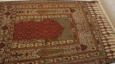 Prayer Mat, 19th century. Cotton, 36 1/4 x 54 5/16 in. (92 x 138 cm). Brooklyn Museum, 25.17. Creative Commons-BY