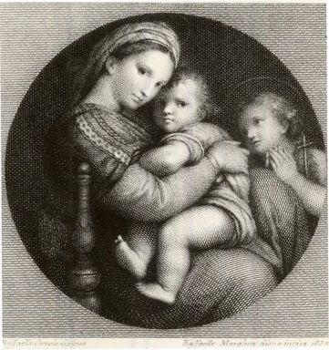 Rafaello Morghen (Italian, 1758-1833). Madonna Della Sedia, 1832. Engraving on wove paper, 7 13/16 x 6 5/16 in. (19.8 x 16.1 cm). Brooklyn Museum, Gift of Mrs. Frederic B. Pratt, 25.184