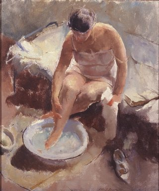 John R. Frazier (American, 1889-1966). Foot Bath, 1917-1923. Oil on canvas, 26 x 22 1/8 in. (66 x 56.2 cm). Brooklyn Museum, Carll H. de Silver Fund, 25.756
