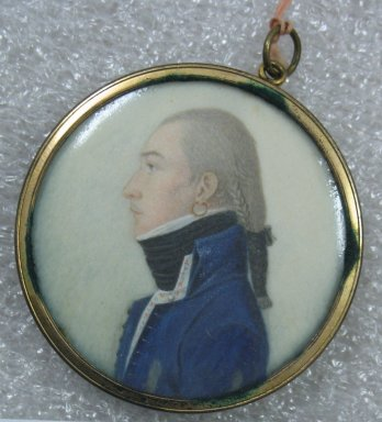 Unknown. Portrait in Profile of a Young Man, n.d. Watercolor on ivory portrait in metal locket with glass lenses, Image (sight): 2 x 2 in. (5.1 x 5.1 cm). Brooklyn Museum, Museum Collection Fund, 25.905
