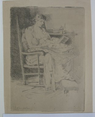 Julian Alden Weir (American, 1852-1919). Mother and Child, 19th century. Etching on tan Japan paper, Sheet: 7 3/16 x 5 1/8 in. (18.3 x 13 cm). Brooklyn Museum, Gift of Elizabeth Luther Cary, 25.93