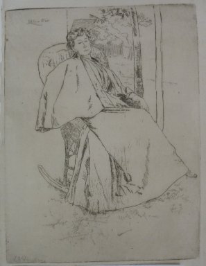 Julian Alden Weir (American, 1852-1919). The Rocking Chair, 1890. Etching on Japan paper, Sheet: 10 1/8 x 7 7/16 in. (25.7 x 18.9 cm). Brooklyn Museum, Gift of Elizabeth Luther Cary, 25.96