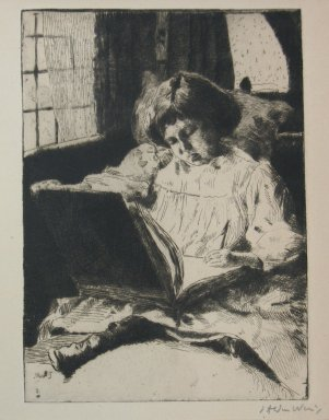 Julian Alden Weir (American, 1852-1919). The Picture Book, 19th century. Etching and drypoint on Japan type wove paper, Sheet: 12 x 8 3/4 in. (30.5 x 22.2 cm). Brooklyn Museum, Gift of Elizabeth Luther Cary, 25.98